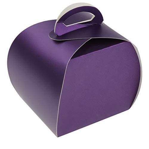 FLAMEER 10er-Set Papier Geschenkbox Geschenkkarton Kuchen Schachtel Torten Karton Muffin Box für Haus Backen Laden Restaurant usw. - Lila