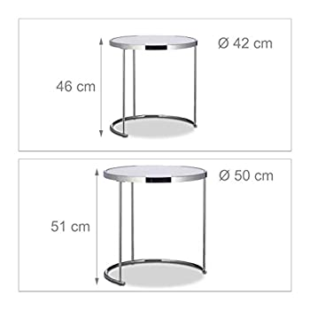 Relaxdays Nesting Round, Chrome Frame, Set of 2, Modern Design-Frosted Glass, Side End Tables, Metal, Silver, 50x50x51 cm
