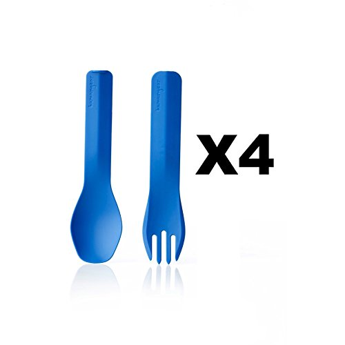 humangear-gobites-duo-utensil-fork-and-spoon-bpa-free-camping-tool-blue-4-pack