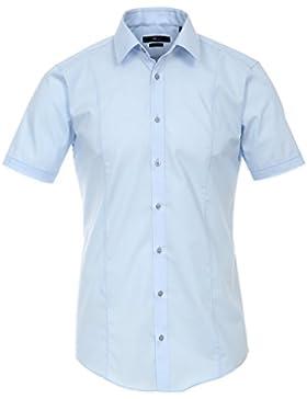 Venti Hemd Hellblau Uni Kurzarm Body Stretch Extra Schmal Kentkragen 96% Feinste Baumwolle 4% Elasthan Bügelfrei