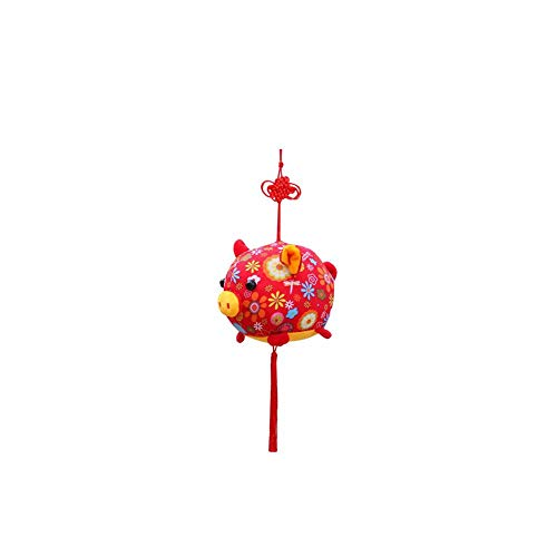 Schwein Plüsch Puppe Chinese Knot Cute PP Baumwolle rot Maskottchen Spielzeug für Neujahr Girl Boy, Schwein-förmige Figur Segen Puppe Plüschtier des neuen Jahres, 2019 günstiges Jahr gutes ()