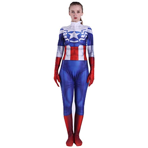 nihiug Captain America Peggy Carter Halloween Kostüm Peggy Carter Anime Kostüm Party Ball,Blue-XL