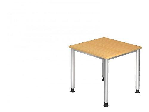 Bürotisch DR-Büro Serie H - 80 x 80 - Besprechungstisch einstellbar 68 bis 76 cm - 7 Farben - Stahlgestell, Farbe Büromöbel:Buche