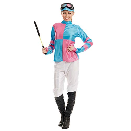 Fun Shack Damen Costume Kostüm, Jockey Pink & Blue, - Jockey Kostüm