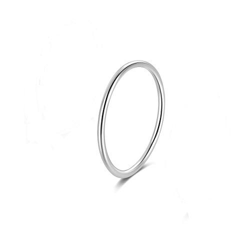 Candyfancy Frauen 925 Sterling Silber Ringe Zarter Echtschmuck Damen Midi Ring (Silber, 47 (15.0))