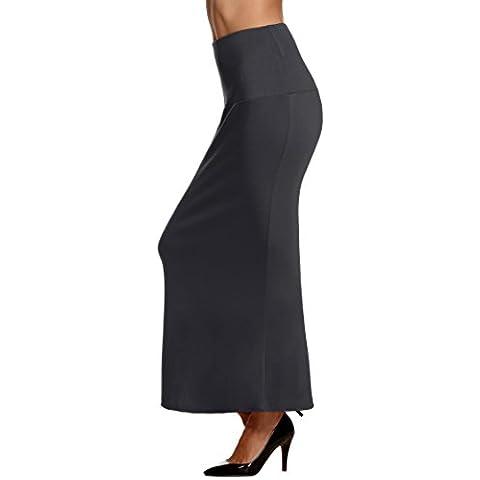 ACEVOG Falda de tubo de talle alto, larga y ajustada con acabado en volante para mujer