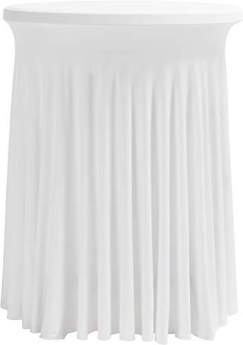 Hussenkönig Stretch Stehtischhusse Tischhusse Husse für Stehtisch Tischdecke Größen Ø 60 cm 70 cm 80 cm Weiß Bügelfrei (Klapp-stühle Hochzeit)