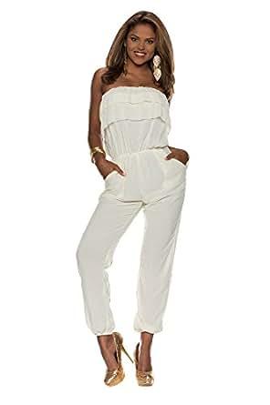 4250 Fashion4Young Damen Overall Hosenanzug im Bandeau-Stil Hose Chiffon-Stoff Gr. 36/38 6 Farben (36/38, Gelb)