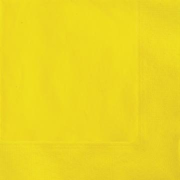 Pack of 50 Yellow Lunch Napkins 2 Ply Wedding Party Tableware