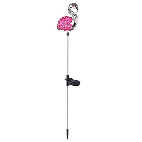 2er Set LED Solar Garten Steck Leuchten Flamingos Pink Kristall Lampen Hof Beleuchtung Tier Figuren