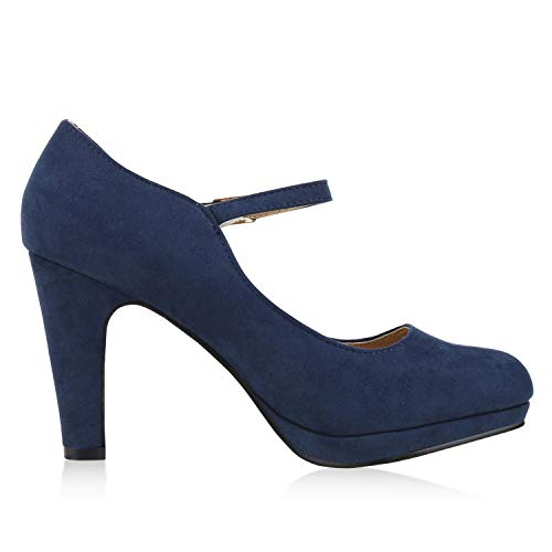 SCARPE VITA Damen Pumps Mary Janes Blockabsatz High Heels T-Strap 160322 Dunkelblau Velours 39 - 2
