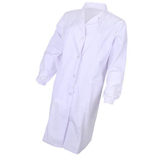 P Prettyia Langarm Laborkittel Berufsmantel Arztkittel Labormantel Labor Arbeitskleidung Labormantel - Weiß, ()