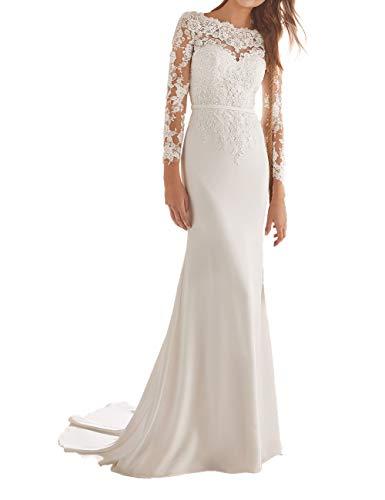 JAEDEN Damen Brautkleid Lang Hochzeitskleider Langarm Meerjungfrau Spitze Chiffon Rückenfrei Weiß EUR38