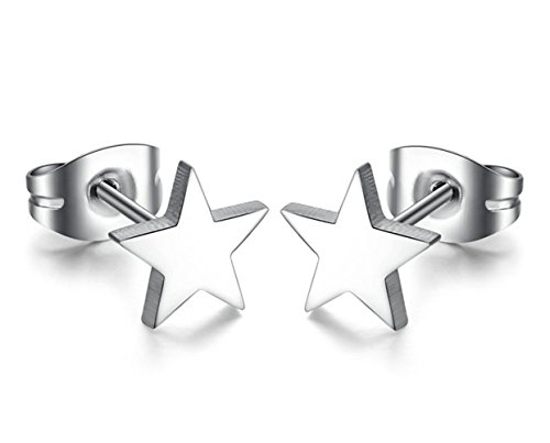 Onefeart Acero Inoxidable Aretes por Unisexo Shinny Suave Pulido Estrella Geométricoal Figura 7x7MM Plata