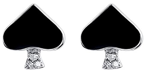 SaySure - 925 Sterling Silver Earrings Spade With Shiny Zircon
