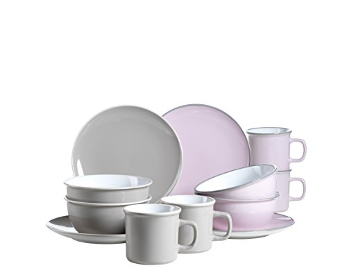 Mäser 931236 Serie Maila, Frühstücksset 12-teilig, Keramik Geschirr-Set für 4 Personen, Rosa /...