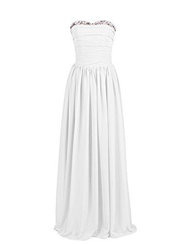 Dresstells, A-ligne robe longue de soirée, robe de cérémonie, robe de mariée sans bretelles col en cœur Ivoire