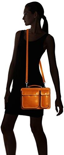 CTM Man Tasche Jobs Kleine Aktentaschen Aktentasche, 27x20x11cm, 100% echtes Leder Made in Italy Orange (Cuoio)