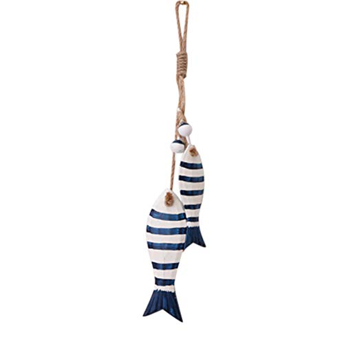 omufipw Mini-Holzfische zum Aufhängen, 2 Stück, holz, blau, 15.8 * 6 CM