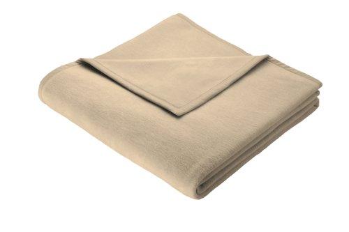 Biederlack Wohn- und Kuscheldecke, 100 % Baumwolle, Samtband-Einfassung, 150 x 200 cm, Beige, Cotton Pure, 239701