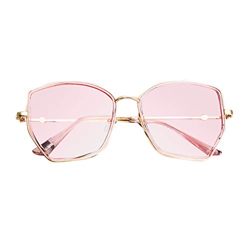 Hhyyq Sonnenbrille Polarisiert Damen UnregelmäßIger Polygonaler Rahmen Men's Polarising Sunglasses Round Hexagonal Mirrored(Rosa)