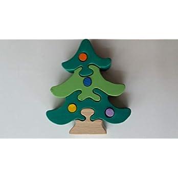 Holz puzzle Weihnachtsbaum handgemachte Kiefer mit Dekoration Geschenk für Kinder massiv Buchenholz Spielzeug