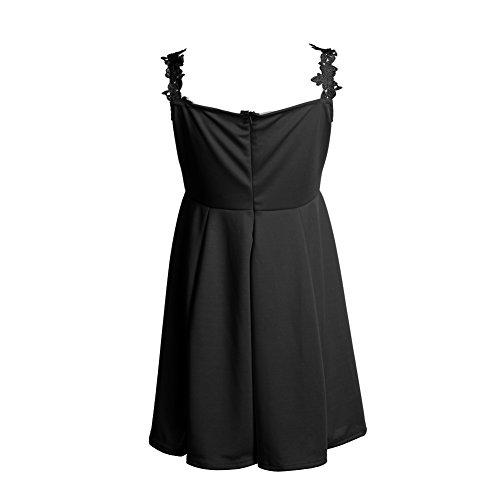 La Cabina Femme Sexy Mini Robe Longue en Dentelle & Robe Courte en Broder de Soie Sans Manches pour Soirée Cérémonie Mariage Gown Noir