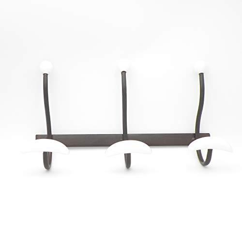 ExtraRetro Perchero de Pared con 3 Ganchos, diseño Retro con pomos de Porcelana