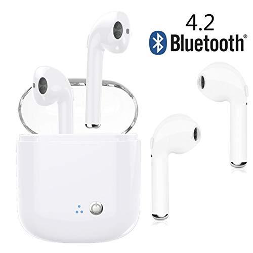 Auriculares inalámbricos Auriculares Bluetooth. Auriculares Bluetooth inalámbricos de reducción de ruido con caja de carga. Compatible iPhone X 8 7 6S Samsung Galaxy S9 S8 otros teléfonos Android (Blanco)