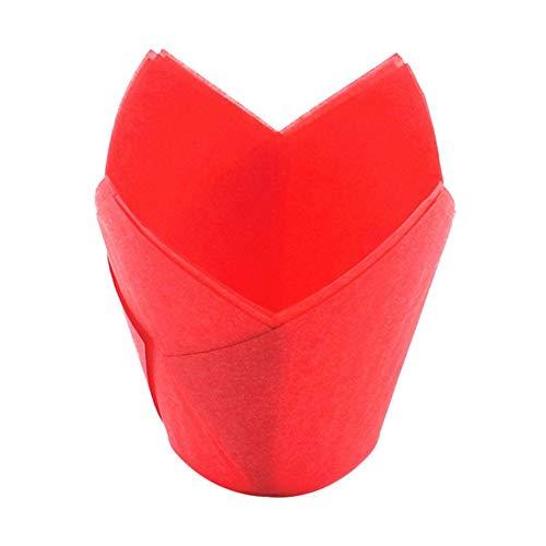 topxingch 50 Stück Ölfeste Tulpenförmchen Muffin Cupcake Liner Papierhalter Backwerkzeug rot