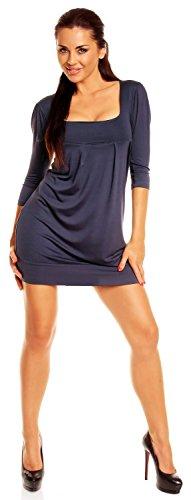 Zeta Ville- Robe boule tunique manches 3/4 coupe ample taille M-4XL femme - 993z Bleu Gris