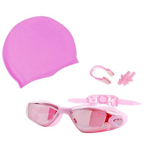 Badekappe Herren Schwimmbrille Brille UV-Schutz Nicht-Fogging Nasenklemme Anzug für Männer und Frauen Strand Schwimmen(Rosa,Free)