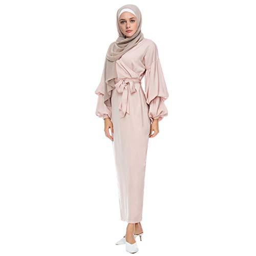 WUDUBE-Muslim Maxikleid Damen Einfarbig Kleider Puff Sleeve Gürtel Langes Kleid Nahöstlichen muslimischen nationalen Robe Puff Sleeve Dress
