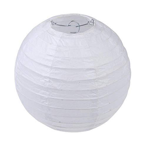 Chansted 4 Pulgadas Ronda Linterna de Papel Chino DIY Papel Bola lámpara decoración del Partido (Blanco)