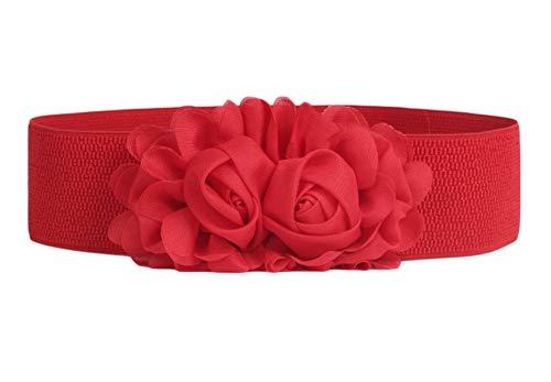 Oyccen Flores Cinturones Elásticos de Mujeres Cinturón Ancho para Vestidos