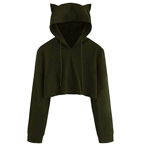 Kapuzen-Kleid für junge Mädchen, mit Katzenohren, langärmlig, Kapuzenpullover, Tops, Bluse