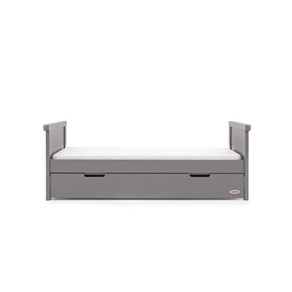 Obaby Belton Cot Bed, Taupe Grey Obaby Adjustable 3 position mattress height Bed ends split to transforms into toddler bed Includes matching under drawer for storage 6