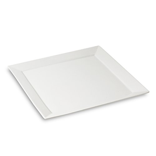 Honey-Can-Do 8149 Porcelain Square Dinner Plate, White, 10.5-Inches
