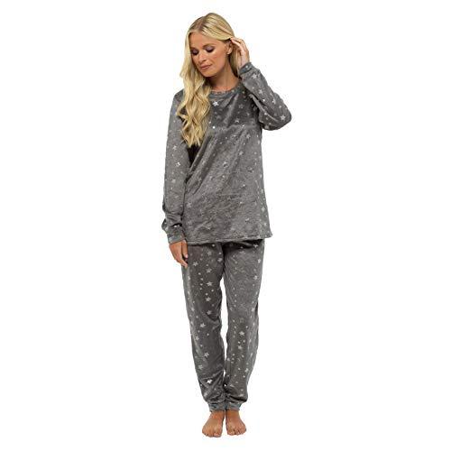 Style it up - pigiama da donna con stampa animali, caldo e morbido, abbigliamento per la notte charcoal/grey - foil print pj set 40/42 it medium