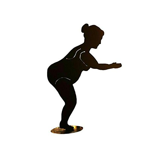 Rost Figuren Garten - Maritime Figur: Rost Badenixe auf Bodenplatte (Fester Stand) - Höhe 42cm - Metallfigur Garten / Dekofigur / Gartendekoration | Garten > Dekoration > Dekofiguren | Rostbraun | Metall | Klocke Edelrost Dekor