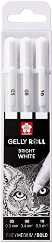Sakura Gelly Roll blanco, 3lápices Bright White, en estuche Mix de Size 05/08/10