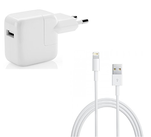 myTech® Ladegerät 12W Stromadapter Netzteil Ladegerät passend für iPhone iPad iPod + [Apple MFi zertfiziert] Lightning Kabel 8 Pin auf USB Kabel 2m (12 W Ipad-ladegerät)