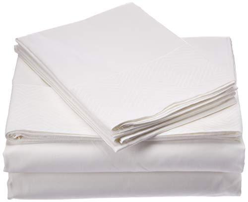 Natural Comfort HS300SS-EDGM-WH-Q Premier Hotel Select Bettwäsche-Set für Queen, Weiß - Premier Queen Baumwolle