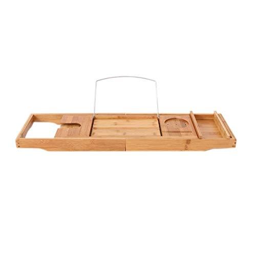 HhGold Badezimmerregale Palettenregal Badewannenständer Premium Bamboo Bath Tray Rack Durch ausziehbare Badewanne Caddy mit Weinglashalter und IPad-Halter Buchablage (Farbe : -, Größe : -) -