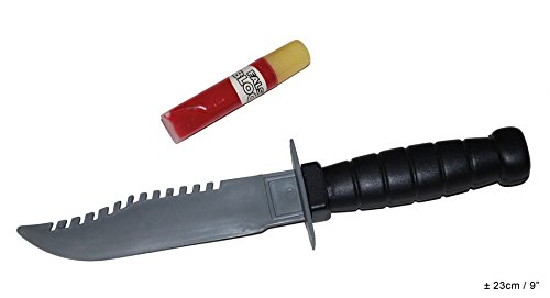Messer Kostüm - Karneval Klamotten blutiges Messer blutig Horror Messer mit Tube Blut Halloween Karneval