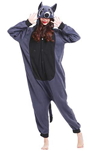 DATO Pyjama Tier Onesies Grau Waschbär Erwachsene Kigurumi Unisex Cospaly Nachtwäsche für Hohe 140-187CM