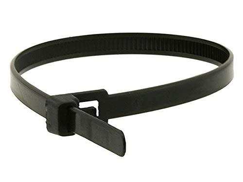 Monoprice Atadura de Cables liberable Negro - 30.48 cm (12 pulg.) 23 kg (100 Unidades/Paquete) Mantenga Sus Cables limpios, organizados y evite daños en los Cables
