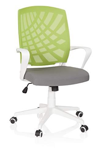 hjh OFFICE 621978 Home-Office Drehstuhl Spring Stoff Grau/Grün bequemer Bürostuhl mit Netzrücken