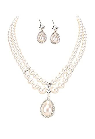 Rosemarie Collections Women's Double Strand Faux Pearl Teardrop Bridal Pendant Necklace Earrings