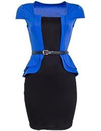 Sexy Schößchen Minikleid Abendkleid Cocktailkleid Business Kleid Dress mit Gürtel Schwarz / Blau